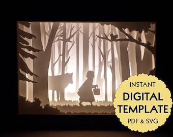 Template Little Red Riding Hood Paper Cut File, Silhouette Light Box Tutorial - PDF, SVG Digital Download