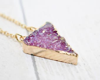 Triangle Necklace, Pink Druzy Necklace, Pink Crystal Necklace, Gift For Her, Druzy Crystal Jewelry, Druzy Jewellery, Pink Necklace, Teenager