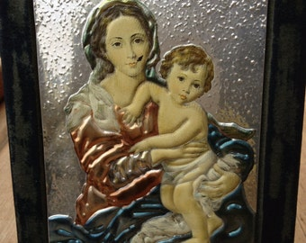 Icon-like Embossed Foil Madonna and Child