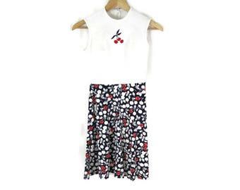 Vintage 50's Cherry Sleeveless Minidress Size Small