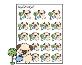 Planner Stickers Pug Watering Plants