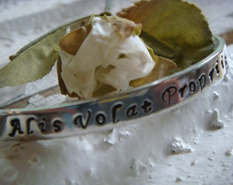 Alis Volat Propriis - She flies with her own wings - Cuff Bracelet