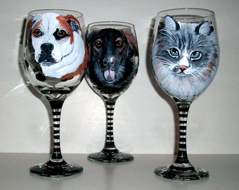 Custom Painted Pet Portraits Set of 3 Hand Painted Wine Glasses Pets Pet Lover Dog Cat Horse Personalized Paw Prints