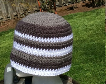 Boutique Beanie hat. Simple gray white hand crocheted