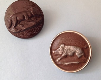 Set of two hunting round buttons, signs