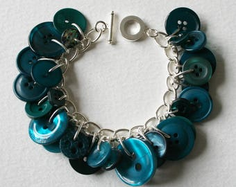 Button Bracelet Turquoise Teal