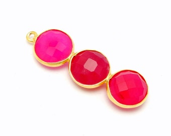 Hot Pink Chalcedony Triple Round Pendant - Three 10mm Gold Over Sterling Silver Round Attached Bezels Charm Pendant (S34B11-09)