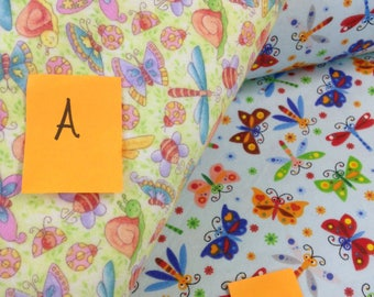 butterfly dragonfly ladybug snail daisy flannel fabric, blue, yellow, green, red, orange, spring fabric, baby girl flannel, by the yard
