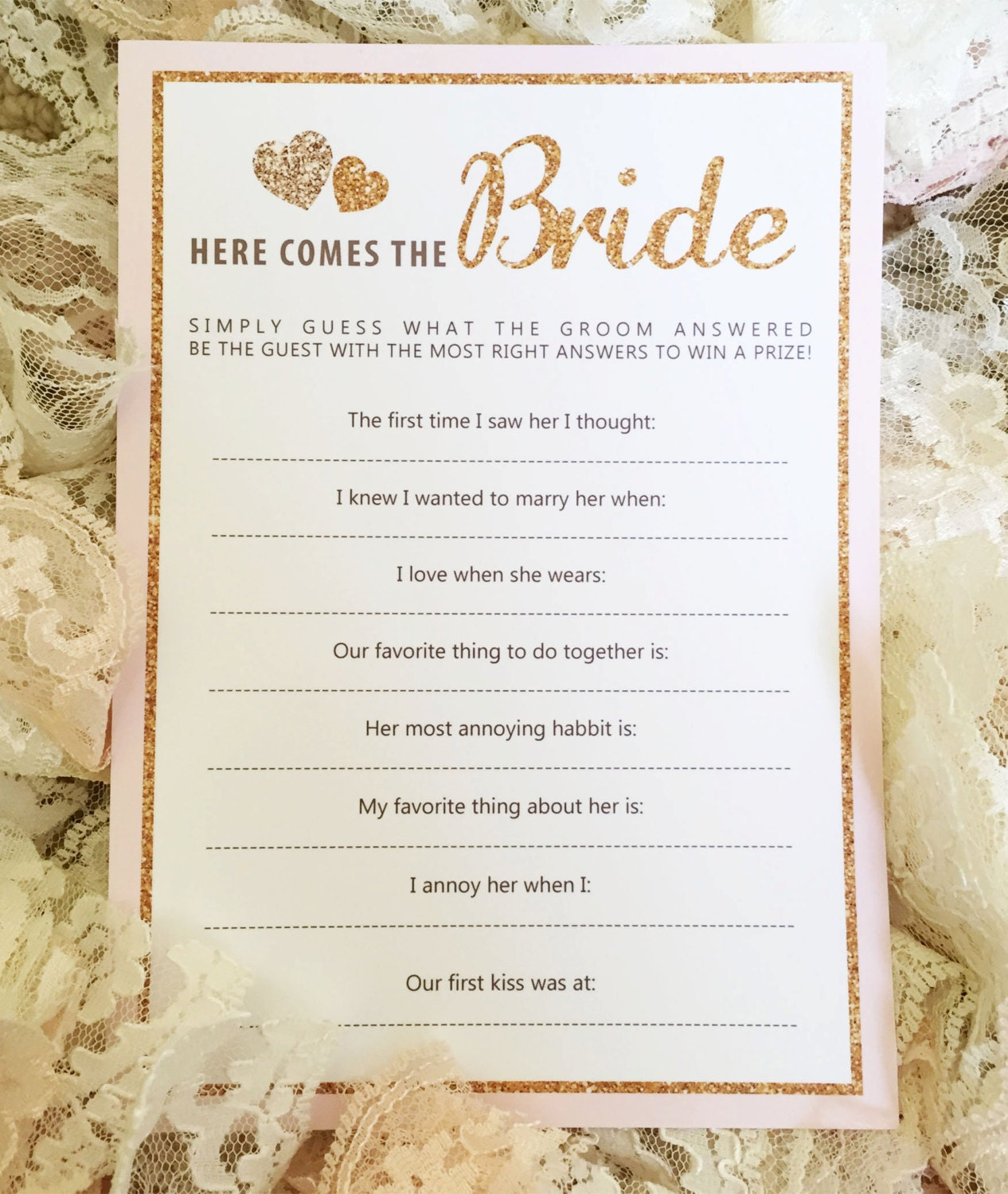 Bride And Groom Questionnaire: Instant Download: Printable Bridal Shower Game Gold And Pink