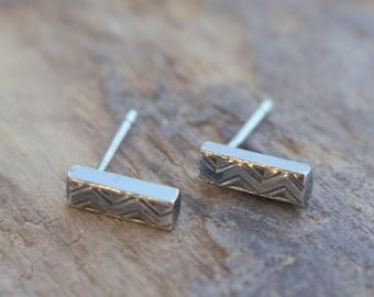 Minimalist Sterling Silver Bar Stud Earrings - Pair of tiny bar earrings