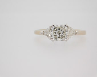 1.46 Carat T.W. Certified Princess & Trillion Cut Diamond Ring 18K White