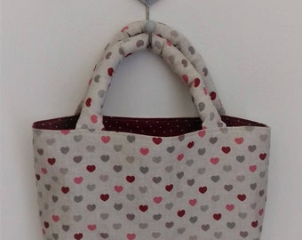 Project bag HEARTS, fabric bag in linen and cotton / gift for knitters / knitting accessories / project bags for knitting
