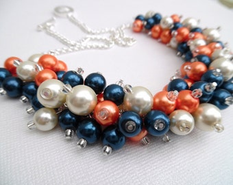 Pearl Beaded Necklace, Light Navy Blue, Orange Ivory Bridesmaid Jewelry, Cluster Necklace, Chunky Necklace, Wedding Jewelry, Navy Bridesmaid