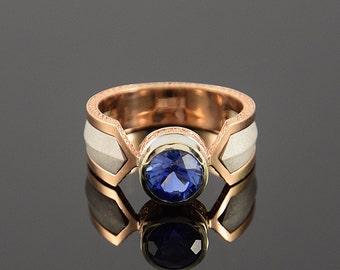 Statement ring, Man statement ring, Gold ring men, Man ring, Unique man ring, Geometric ring, Blue stone ring, Solitaire ring man