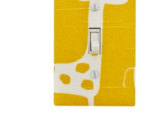 Yellow Giraffe Light Switch Plate-Baby Girl Boy Gender Neutral Nursery Wall Decor -Outlet Cover-Premier Prints Gisella Stretch Sunny Natural