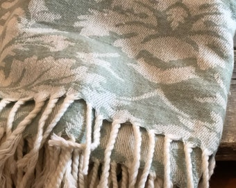 Marthe Stewart vintage jadite green throw looks so cute over back of chair or sofa