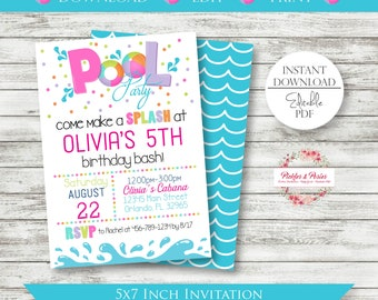 Editable Pink Pool Party Invitation - Pool Party Birthday Invitation - Pink Pool Party Invitation - Printable - Edit w/ Adobe Reader