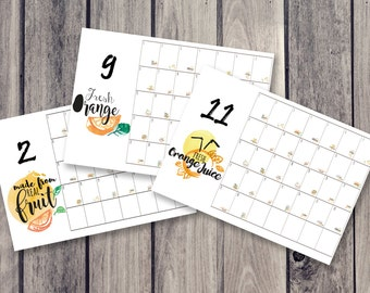fruits calendar, fridge calendar, monthly calendar, monthly planner, desk decal calendar