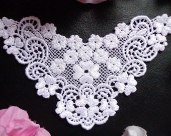 Venise Applique, 5+1/4 x 3+1/4 inch white color