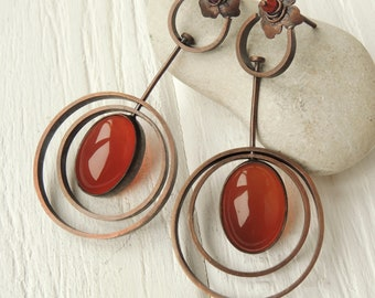 Copper circle dangle earrings, Spin circles earrings, Earrings with cornelian, Orbital earrings, Round earrings