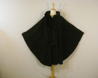 Black Poncho Wrap Shawl Sophisticated Chic One Size Fits Most