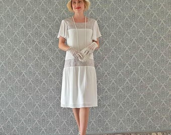 Off white Downton Abbey dress with flutter sleeves, white Great Gatsby dress, 1920s flapper dress, 1920s wedding dress, 20s wedding gown