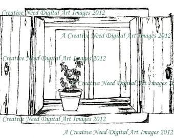 INSTANT DOWNLOAD Digital Stamp Image Cottage WINDOW for Cards, Scrapbooking, Mixed Media Art