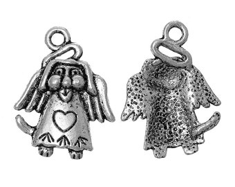 10 Antique Silver  Dog With Wing Heart Carved 24mm Charms (B18i1)