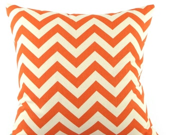CLEARANCE Orange and White Zig Zag Decor Bedding Throw Pillow Cover, Choose Your Size, Orange and White Chevron Cushion Sham