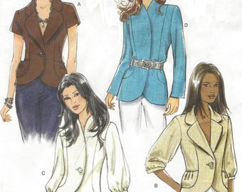 Womens Princess Seam Jacket Sleeve and Collar Variations OOP Butterick Sewing Pattern B5469 Size 14 16 18 20 Bust 36 38 40 42 UnCut
