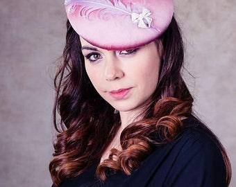 Women's Hat, Women's Fascinator, Mini Hat, Mother of the Bride, Wedding Hat, Silk 'Vintage Button' Hat with vintage feather - Denise