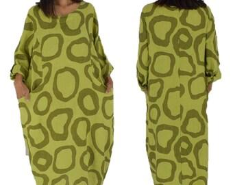 LD600GN Dress Linen Printed Vintageoptik one size Gr. 40 42 44 Kiwi Green Turn Upsleeve
