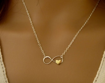 Infinity Necklace with Tiny Heart