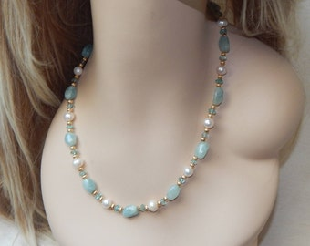 Aquamarine and Pearl necklace,Aquamarine,Apatite and pearl necklace,Aquamarine necklace,Apatite necklace,Pearl necklace,Wedding necklace