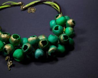 Jewelry set 'Floristics', green buds