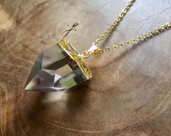 Chunky Crystal - bohemian necklace with a quartz pendant with gilded edge - white, gypsy, boho, rock, bohemian, trend, minimal, gold, clear