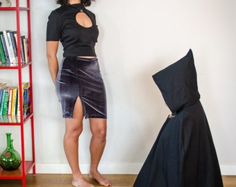 Charcoal Grey Pencil Skirt with Side Slit