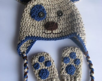 Puppy Hat with Paws Mittens Set