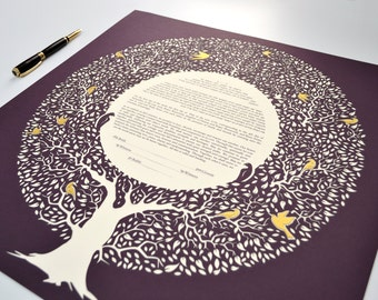Custom Handmade Tree Ketubah with PaperCut Home Wall Art Modern Tree with golden leaves and birds Ketubah Wedding Vow Minimalist ketubah