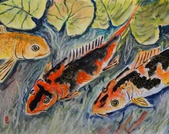 Koi Pond (original watercolor), fish painting, fish art, Koi painting, Asian art, fish pond art,