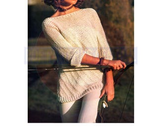 80s Summery Longline Diagonally Ribbed Sweater, Knitting Pattern Bust Size 81-91 cm, Instant Download PDF, 3 pages