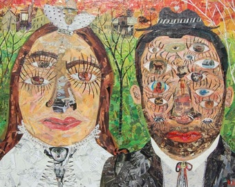 Large Original Collage Art - the Bride and Groom - Wedding Outsider Folk Art Painting - Abstract Eyes