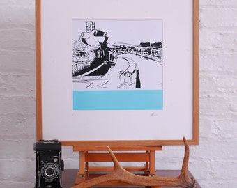 Limited Edition Giclee Linocut style print 12x12 inches of Bilbao, Spain