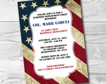 Military Deployment Invitation Printable - Military Welcome Home Invitation - Army - Navy- Marines - Air Force - Customizable to any event