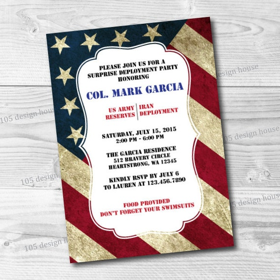 Military Deployment Invitation Printable Military Welcome