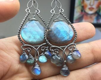 Custom Listing for N.  Labradorite Chandelier Earrings