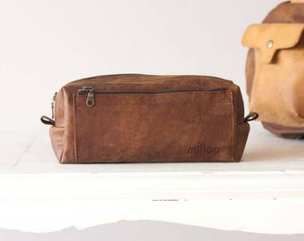 Brown distressed leather travel case, accessory case toiletry storage organizer shaving kit case - Skiron travel case
