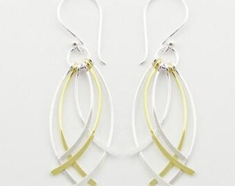 silver and gold curved sticks earrings