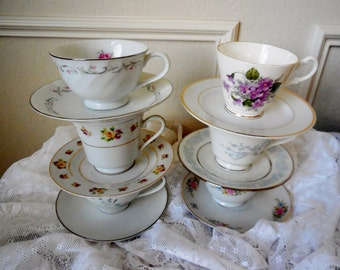 Tea Cup and Saucer Sets, Mismatched Tea Party Orphan China Sets