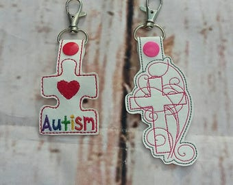Autism and Cross Embroidered Keychains